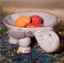 "Elephant Trunk Up 77517 Ceramic 3D Figural Bowl Candy Dish Grey 10"" D - $29.70"