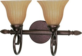 "Moulan Bronze Wall Light Champagne Glass Shades 18""Wx11""H - $109.99"