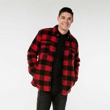 Levi's men's Red Buffalo Plaid faux Sherpa fleece Shirt Jacket size Small S nwt - $80.74