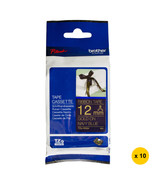 Brother 12mm Ribbon Tape Cassettes (Pack of 10), Gold on Navy Blue, TZe-... - $115.99