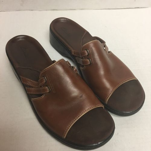 5bbf7458f2a ... Clarks 75956 Brown Leather Sandals Slip On Women s Size 9 1 2 M English  Brand ...