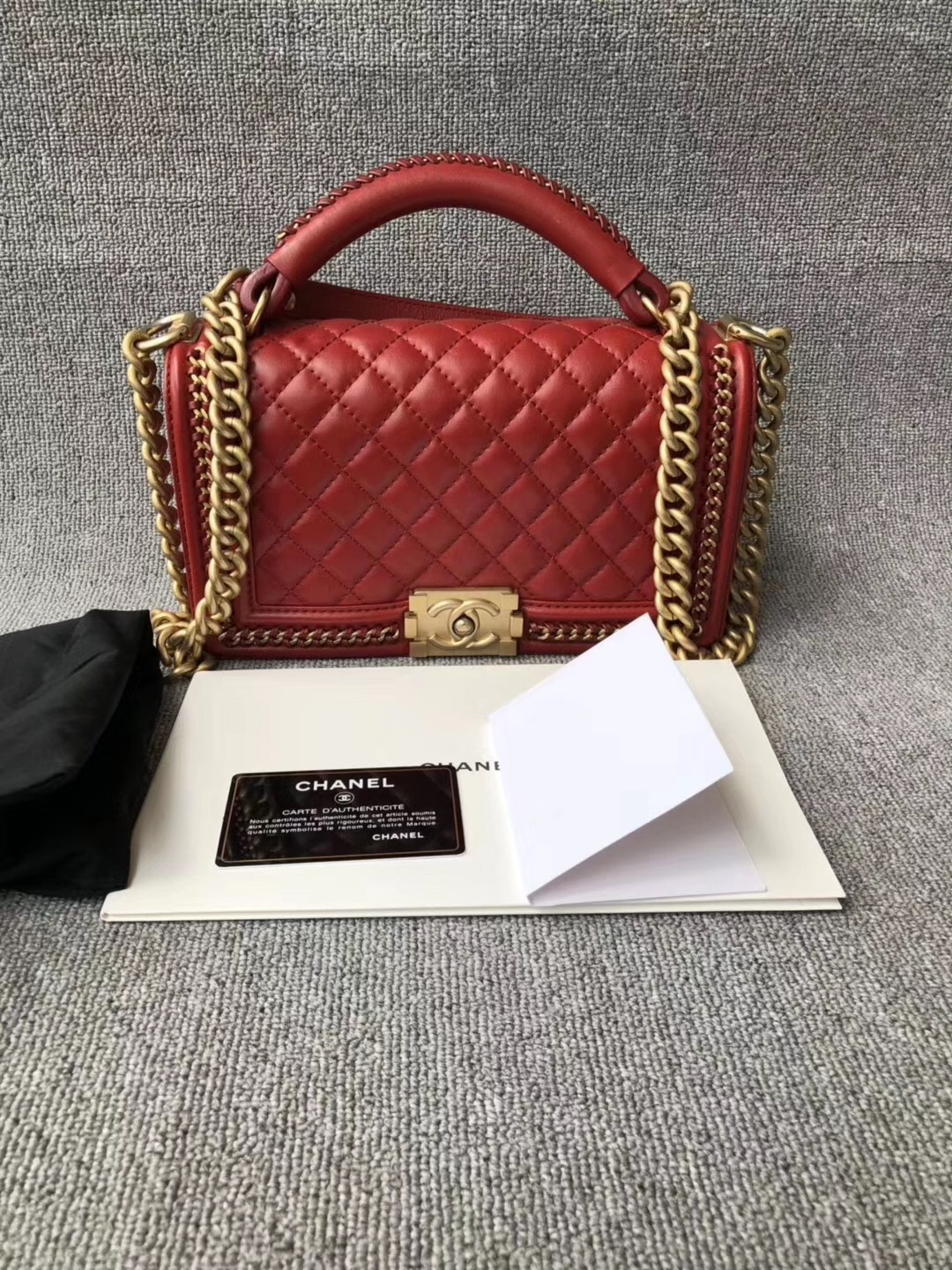 AUTHENTIC CHANEL RED QUILTED CALFSKIN 2 WAY TOP HANDLE BOY FLAP BAG RECEIPT
