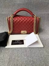 AUTHENTIC CHANEL RED QUILTED CALFSKIN 2 WAY TOP HANDLE BOY FLAP BAG RECE... - $5,499.99