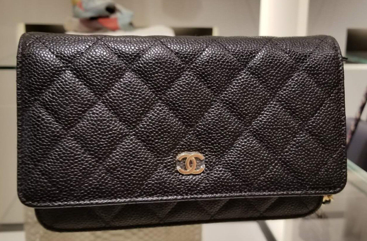 388b75cac243c8 NEW! AUTHENTIC Chanel Wallet on Chain (WoC) Style: Black Caviar w/