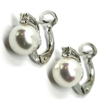 SOLID 18K WHITE GOLD CLIPS EARRINGS, SALTWATER AKOYA PEARLS 8/8.5 MM, DIAMONDS image 2