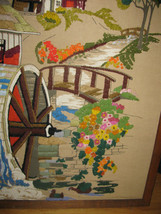 """VINTAGE CREWELL PICTURE 32"""" X 26"""" VERY OLD-WATERMILL-HOUSE-ARCHED BRIDGE-FLOWERS image 3"""