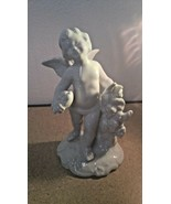 "VINTAGE, DRESDEN GERMANY WHITE PORCELAIN CHERUB FIGURINE, 5 3/4"" TALL - $36.50"