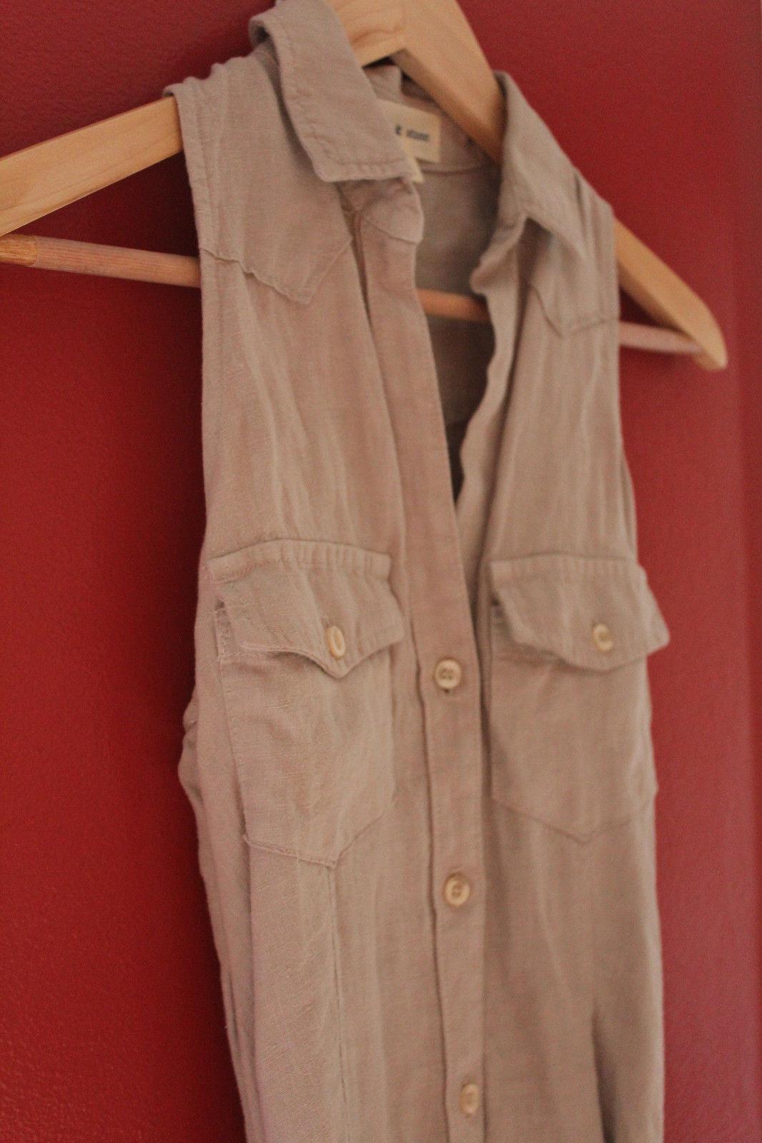 NEW! Cloth & Stone Soft Linen Knit Beige Button Down Tunic Top Dress XS $180
