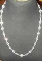 Mid Century Czech Deco Faceted Cut Crystal Beaded Necklace 14 GF Clasp VTG - $145.00