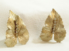 JUDY LEE Rhinestone LEAF Clip Earrings Gold Plated Leaves Vintage Estate... - $17.81