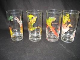 Vintage Set of Four (4) 12oz Drinking Glasses Wild Geese Duck Pheasant G... - $17.77