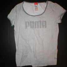 NEW PUMA TOP TEE WITH LOGO LARGE WOMENS GRAY STRETCH L Casual  - $10.00