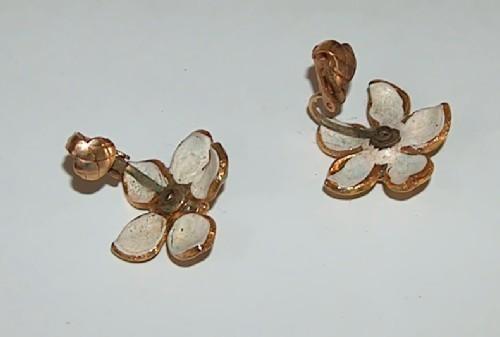 Gold Metal Daisy Earrings with Green Enamel Petals