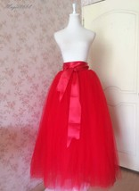 Women's Red Tulle Skirt Floor Length Red Maxi Tulle Skirt High Waist Prom Skirt