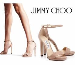 JIMMY CHOO Misty 100 Platform Ballet Pink Suede Sandals Nude EU 39/US 9 - $217.80