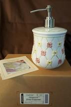 Longaberger Pottery Hand Painted Stoneware DOGWOOD LOTION SOAP DISPENSER... - $15.00