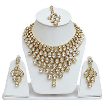 Indian Gold Plated Bridal Necklace Bollywood Fashion Costume Jewelry Earring Set - $24.69