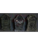 Set of Three Resin Halloween Mini Table Top Tombstones - $9.99