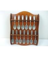 Franklin Mint 13 Original American Colonies Pewter Spoons w Wood Display... - $39.55