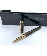 S T Dupont  Pen Ballpoint Gold Plated With Box And Papers Lacquer And Gold - $744.35