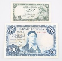 1954 Spain Peseta Notes Lot (2) 5 ₧ XF+ P#146a, 500 ₧ VF P#148a Banco de... - $64.35