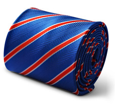 Frederick Thomas royal blue and red club striped men's tie FT3389