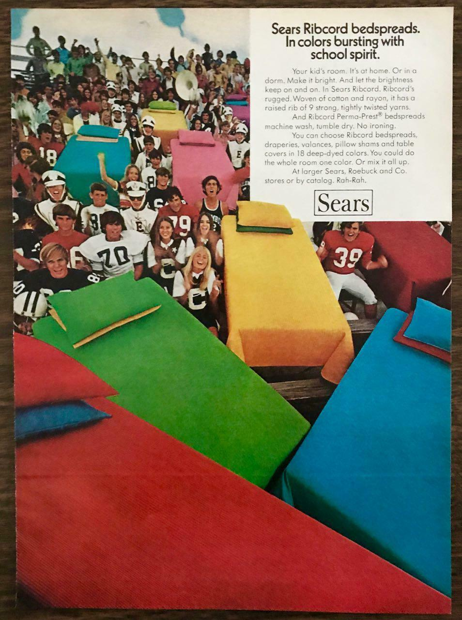 Primary image for 1972 Sears Roebuck PRINT AD Ribcord Bedspreads Colors Bursting w School Spirit