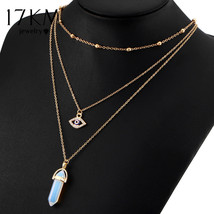 Vintage Opal Stone Chokers Necklaces Multi Layer Crystal Eye Jewelry for... - $5.99