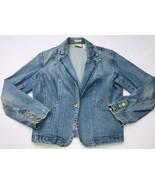St Johns Bay Womens S Petite Cotton Blend Stretch Denim Jean Jacket Blazer - $39.59