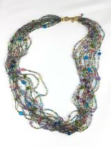 "JOAN RIVERS Blue Green Pink Multi Strand Torsade 40"" Beaded Necklace EUC image 5"