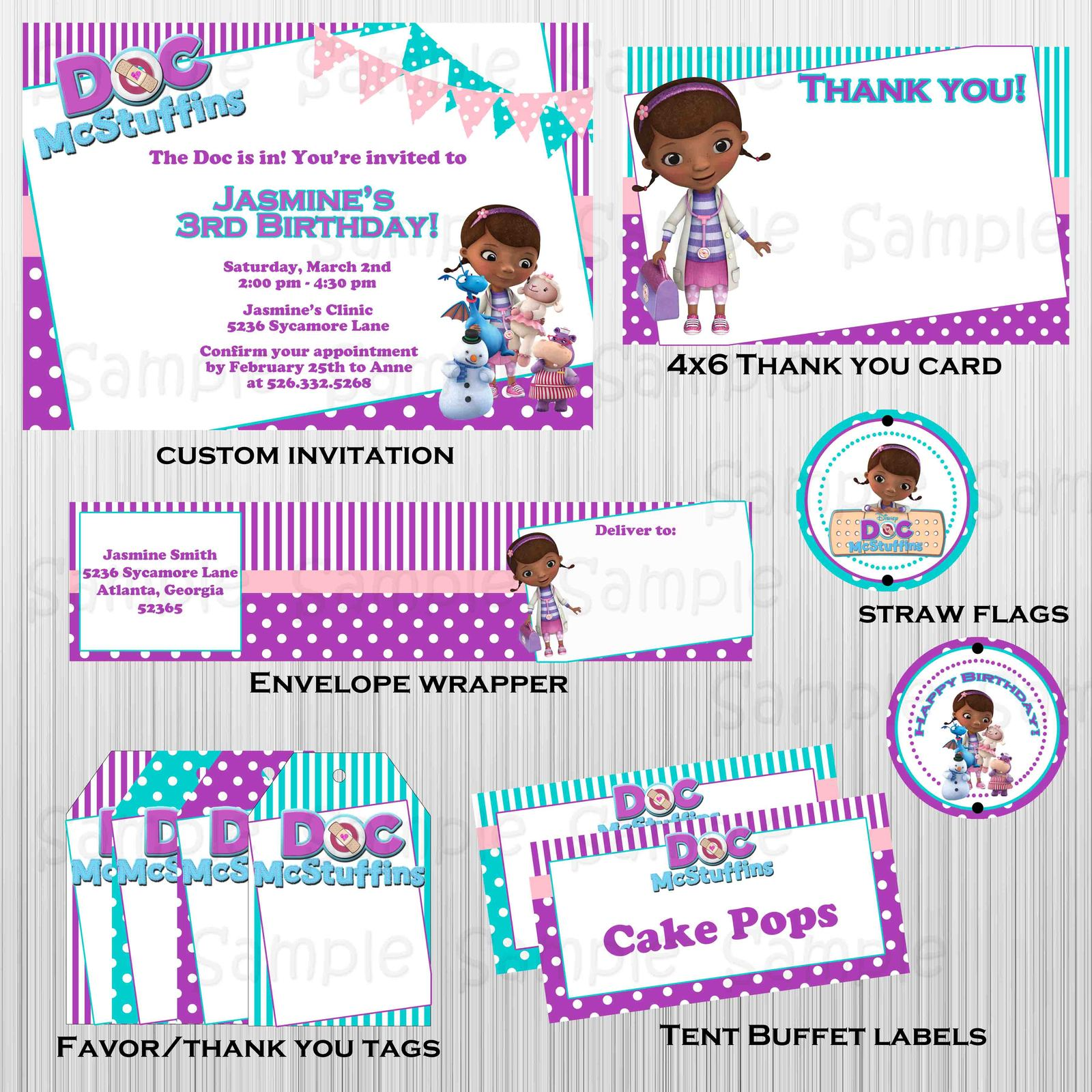 Printable Doc McStuffins complete party: with invitation, custom, birthday