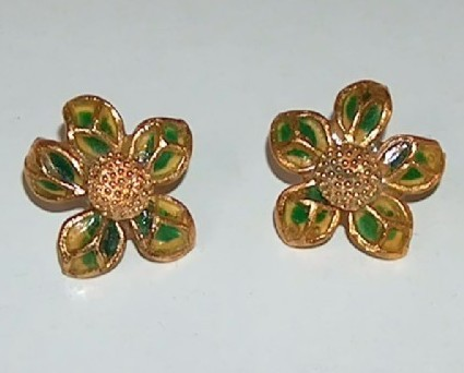 Green and gold enamel flower earrings