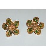 Gold Metal Daisy Earrings with Green Enamel Petals - $14.99