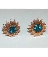 Gold Metal Flower Petal Earrings with Emerald Green Crystal  - $14.99