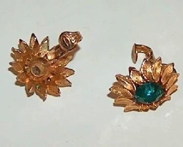 Gold Metal Flower Petal Earrings with Emerald Green Crystal