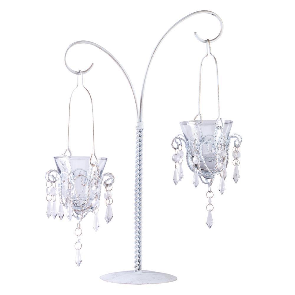 White Hanging Mini-Chandelier Votive Stand image 2