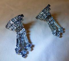 Vintage 1950s Rhinestone Dangle Chandelier Screw Back Earrings - $55.00
