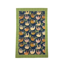 SLOTHS HANGING AROUND BRANCHES BLUE GREEN 100% COTTON KITCHEN TEA TOWEL - $8.63