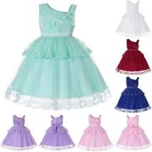 Lace Flower Girl Dress One Shoulder Wedding Birthday Party Gown Children... - $27.99