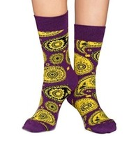 Happy Socks Mens Dress Socks Colorful Paisley Purple Yellow Black NEW sz... - $14.73
