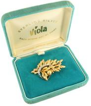 VINTAGE STERLING GOLD VERMEIL VIOLA CHIPPED ICE LEAF DESIGN PIN ORIGINAL... - $53.99