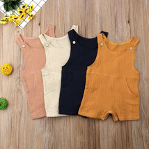 New Baby Boy Girl Infant Romper Solid Cotton Sleeveless Button O Neck Ju... - $7.99
