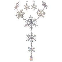 EVER FAITH Tear Drop Snowflake Necklace Earrings Set Austrian Crystal Si... - $27.28