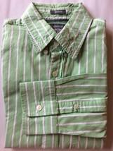 Abercrombie & Fitch Men Dress Shirt Muscle Fit Green White Stripe Long S... - $25.71