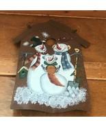Estate Large Three Snowman Painted Rustic Metal Birdhouse Christmas Tree... - $13.99