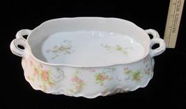 Peerless Marlboro Serving Dish Bowl Handles Pink Flower Floral Vintage C... - $18.80