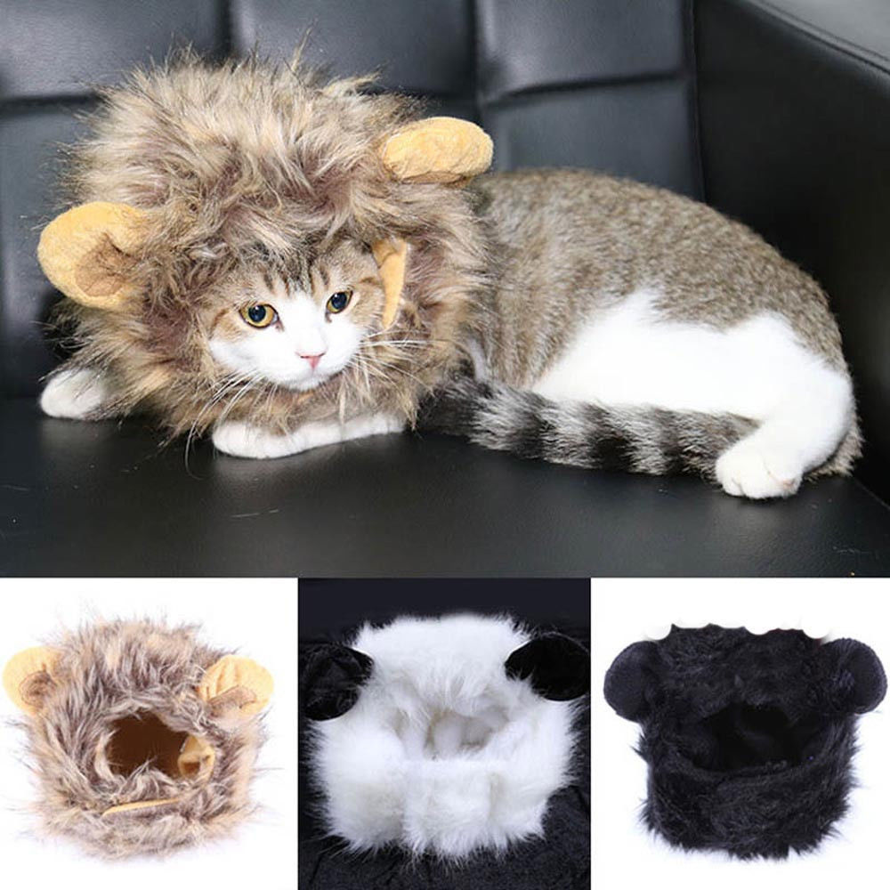Cat Wig Costume Mane Halloween Ears Headgear Festival Party Collar Supplies Pet