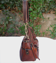 Dooney & Bourke Saddle Tan Brown Red Leather Pocket Hobo Brass Duck Charm DS455 image 5