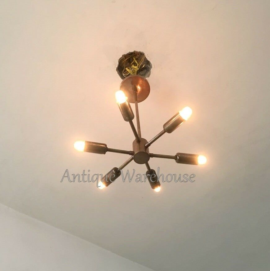 Primary image for E14 Mid Century Modern Brass Sputnik Chandelier Ceiling 6 Light Lamp