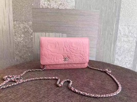 100% AUTHENTIC CHANEL Pink Lambskin Camellia Wallet on Chain WOC Bag